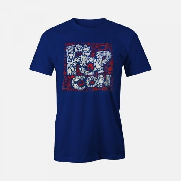 Red White & Blue PopCon Logo with All Icons Tee