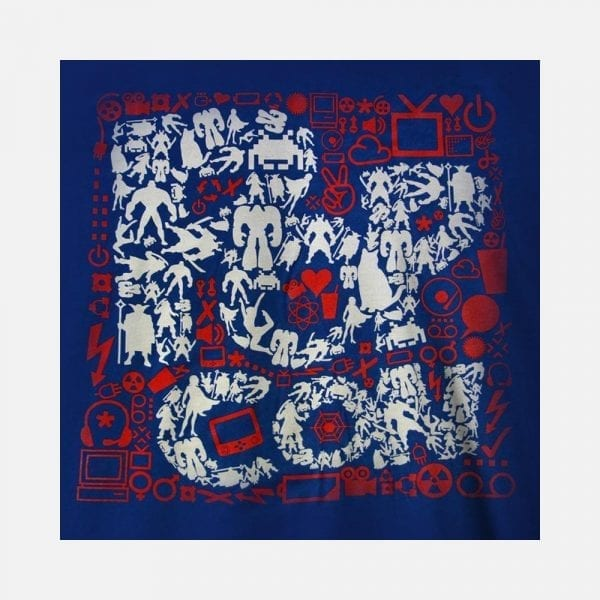 Red White & Blue PopCon Logo with All Icons Tee (Close Up)